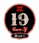 Distressed Aged 19 Years Of Rust Motif For Retro Rat Look VW etc. External Vinyl Car Sticker 100x90mm